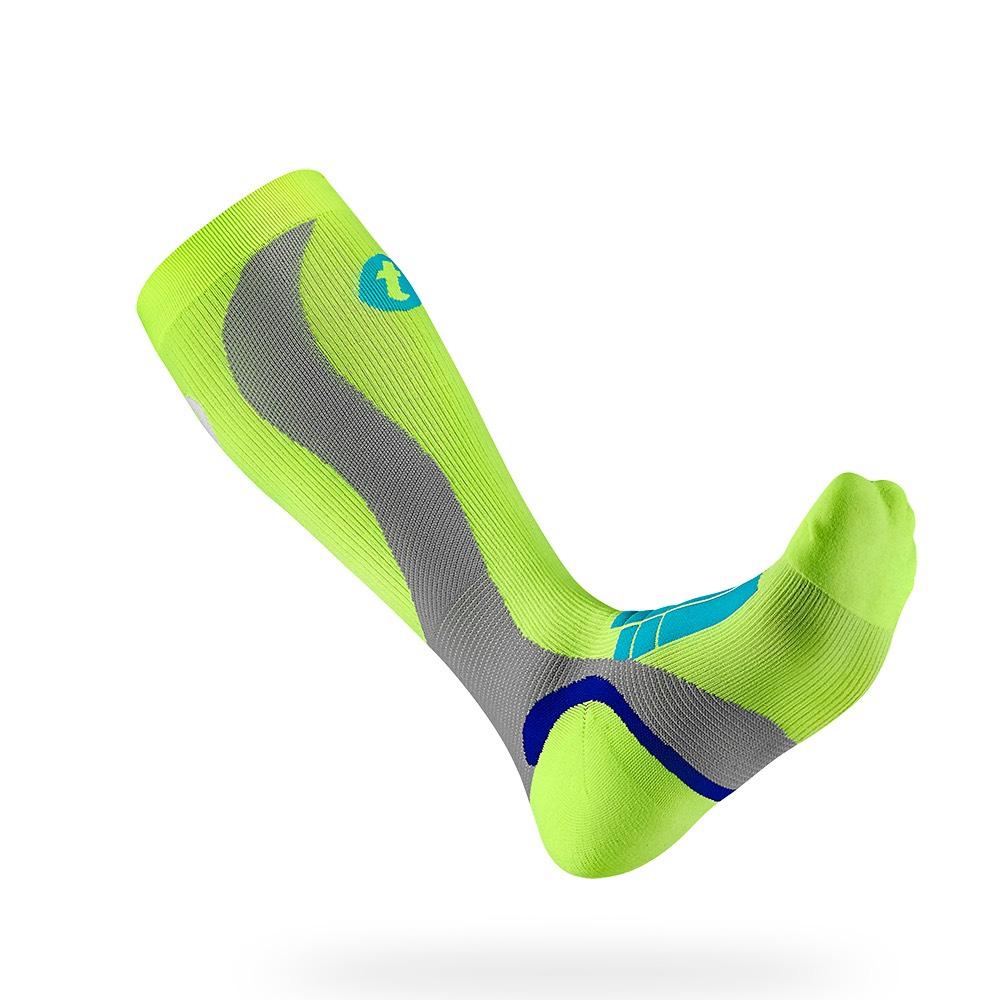 titan太肯|壓力運動襪-Elite-螢光黃/淺灰色
