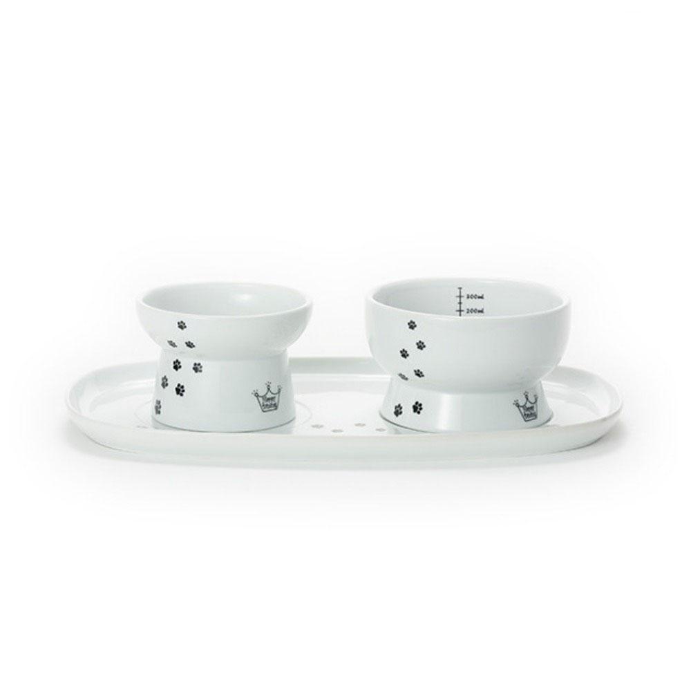 貓壹 | 快樂食光套組含餐盤 黑貓食碗+白貓水碗