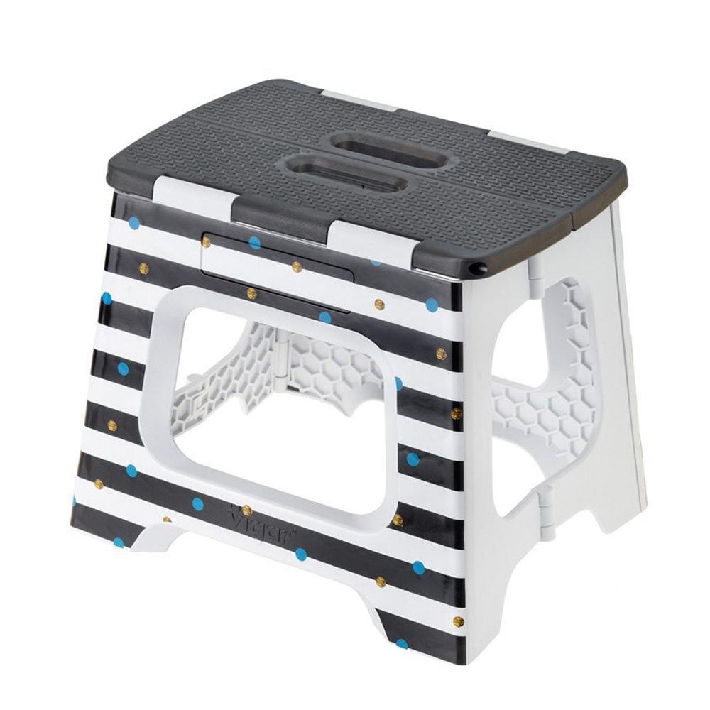 Vigar│27cm 折疊板凳 側邊 黑白條紋圖樣 (M)