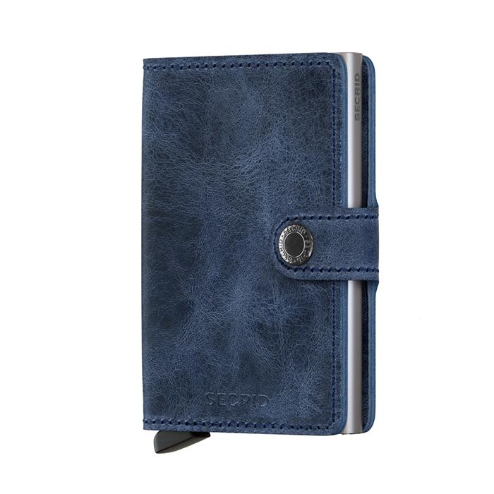 荷蘭 SECRID|RFID安全防盜錄 Miniwallet Vintage 復古真皮錢包卡夾 - 藍