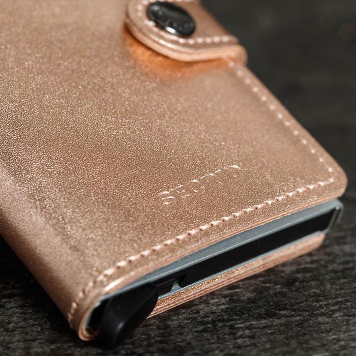 荷蘭 SECRID RFID安全防盜錄 Miniwallet Metallic 金屬光澤真皮錢包卡夾 - 玫瑰金