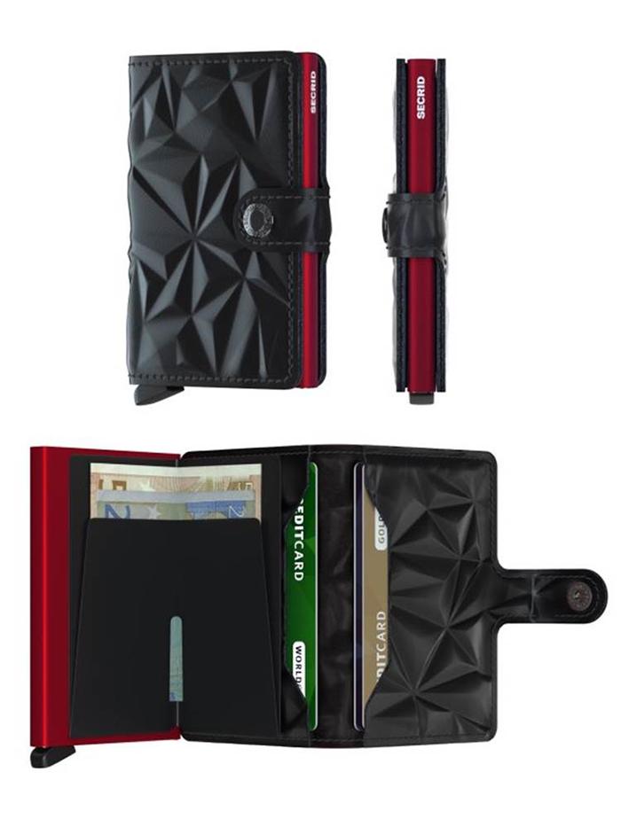 (複製)荷蘭 SECRID|RFID安全防盜錄 Miniwallet Prism 棱鏡真皮錢包卡夾 - 黑/紅