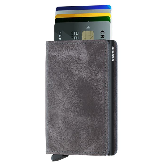 荷蘭 SECRID|RFID安全防盜錄 Slimwallet Vintage 經典復古真皮錢包卡夾 - 灰黑