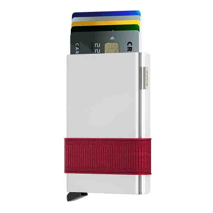 荷蘭 SECRID|RFID安全防盜錄 Cardslide 智慧滑卡式多功能卡夾 - 紅帶白夾
