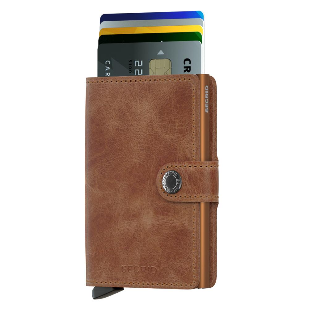 荷蘭 SECRID|RFID安全防盜錄 Miniwallet Vintage 復古真皮錢包卡夾 - 淺咖