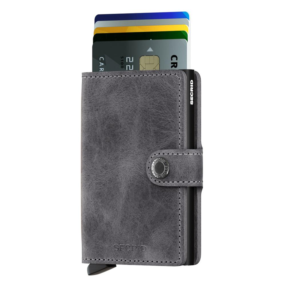 荷蘭 SECRID|RFID安全防盜錄 Miniwallet Vintage 復古真皮錢包卡夾 - 深灰