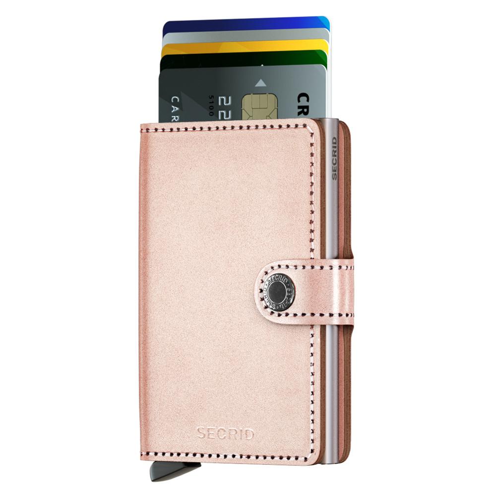 荷蘭 SECRID|RFID安全防盜錄 Miniwallet Metallic 金屬光澤真皮錢包卡夾 - 玫瑰金