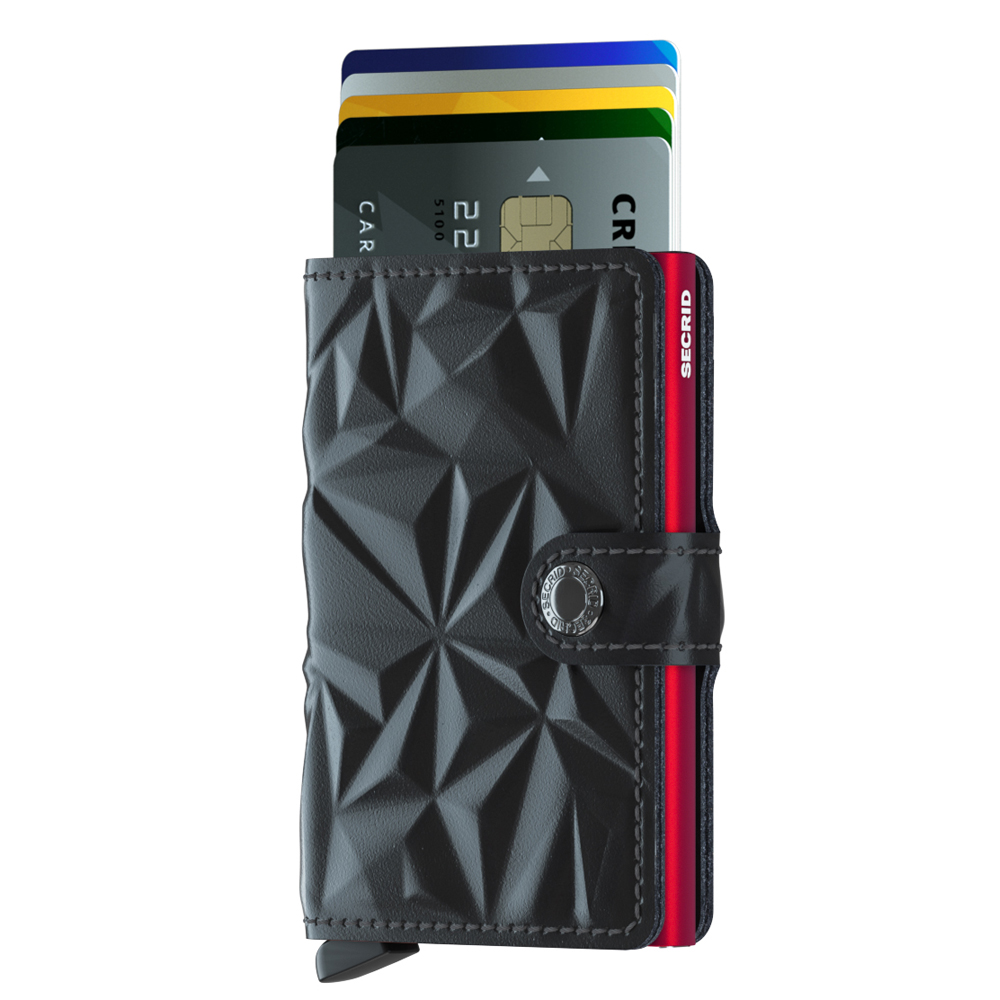 荷蘭 SECRID|RFID安全防盜錄 Miniwallet Prism 棱鏡真皮錢包卡夾 - 黑/紅