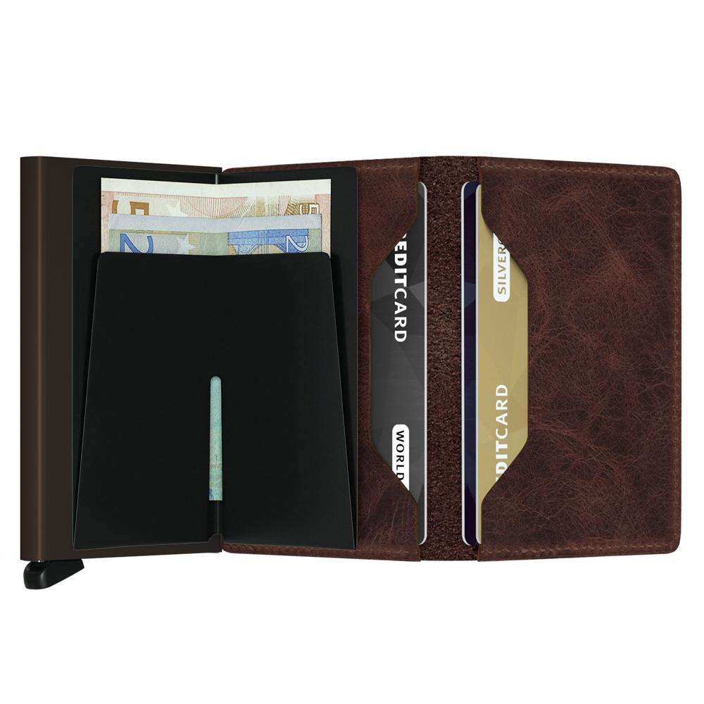 荷蘭 SECRID|RFID安全防盜錄 Slimwallet Vintage 經典復古真皮錢包卡夾 - 巧克力色