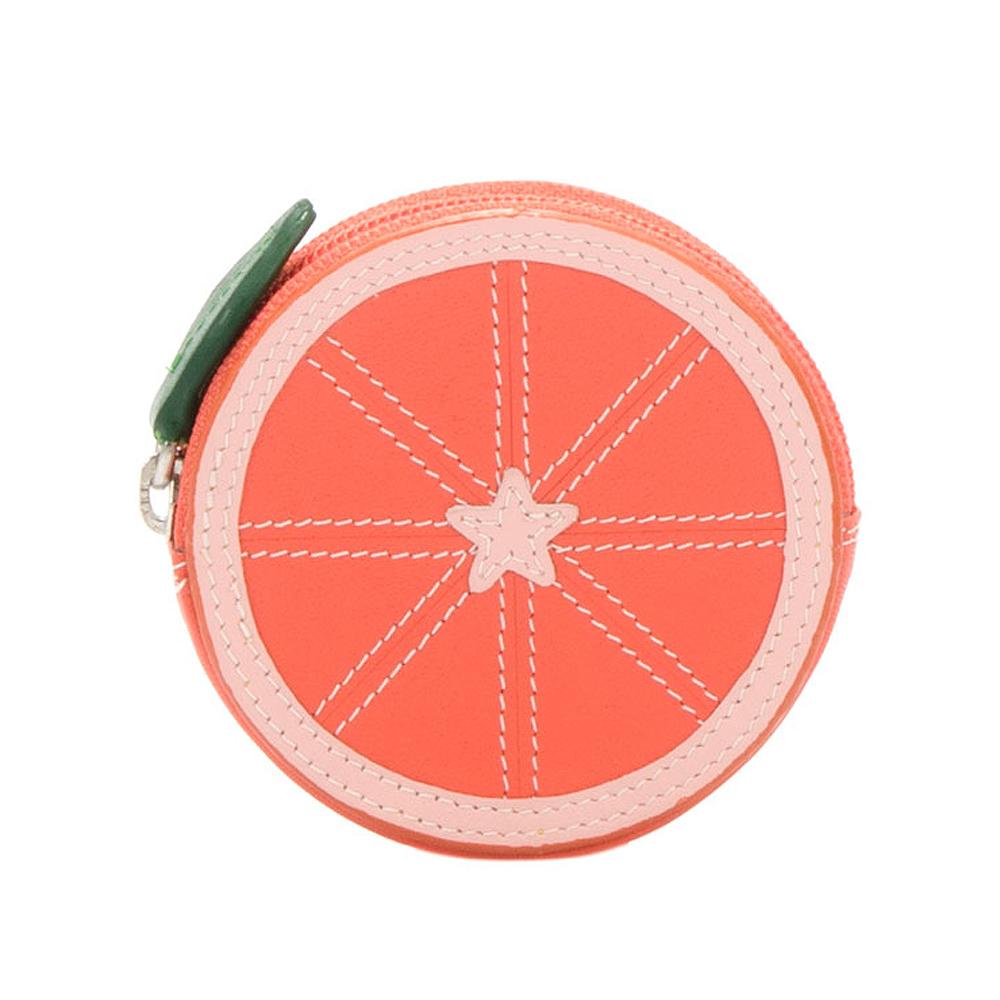 義大利 mywalit 繽紛配色真皮革 造型鑰匙小零錢包 -橘子