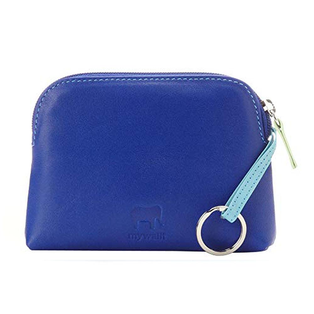 義大利 mywalit|繽紛配色真皮革 小牛皮卡片鑰匙零錢包 -藍