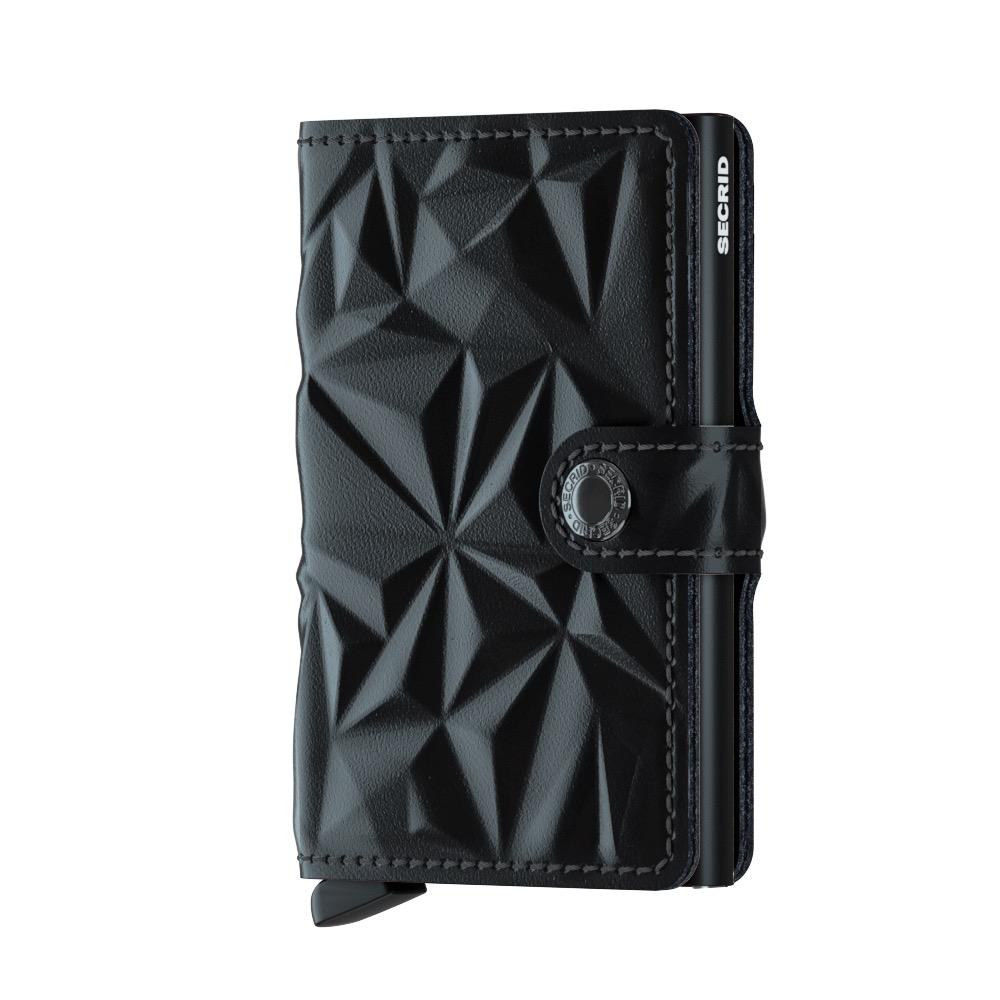 荷蘭 SECRID|RFID安全防盜錄 Miniwallet Prism 棱鏡真皮錢包卡夾 - 黑/黑
