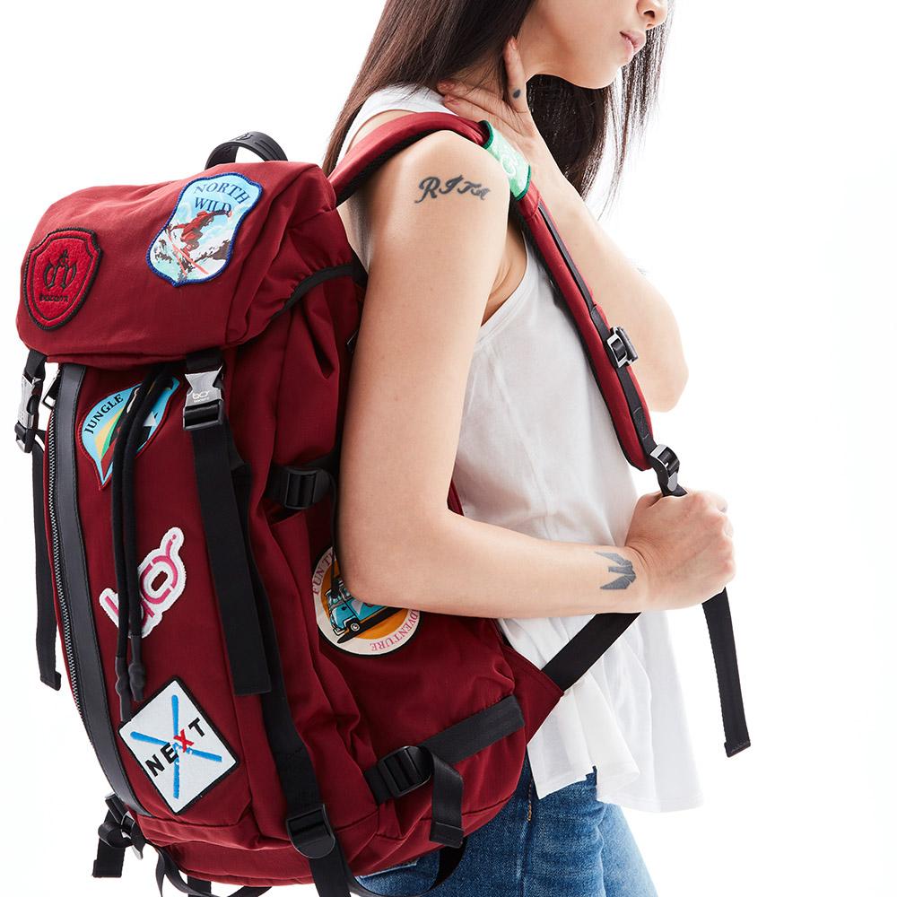 bacarry|Adventure-LoveLife-L1802 電繡布章後背包
