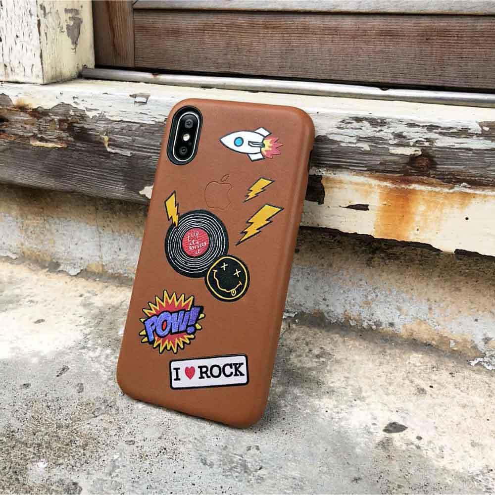 INJOY mall iPhone 7 / 8 / Plus / X  系列 嘻哈搖滾唱片皮革手機殼 保護殼 (焦糖色)