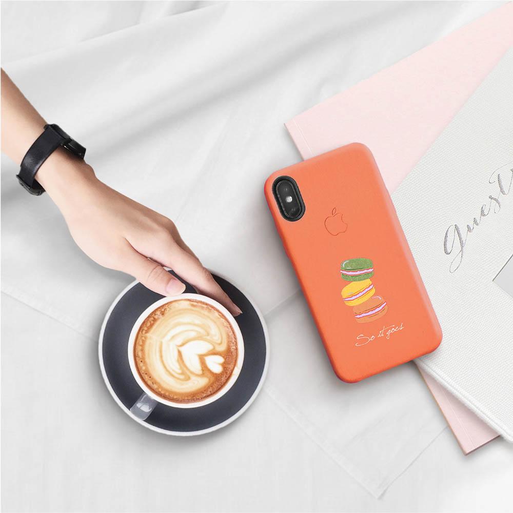 INJOY mall iPhone 7 / 8 / Plus / X 系列 繽紛馬卡龍皮質手機殼 保護殼