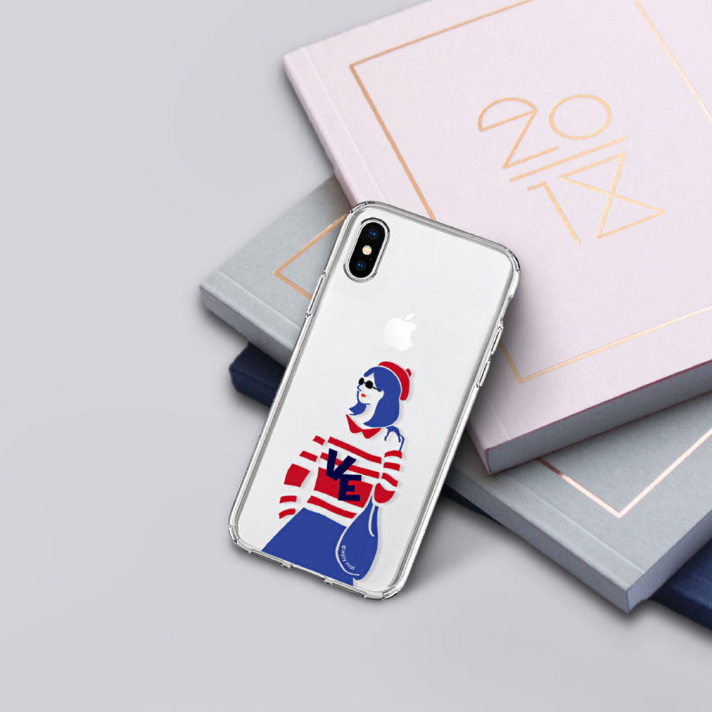 INJOY mall iPhone 6 / 7 / 8 / Plus / X 系列 簡約文青情侶女生款 耐衝擊防摔手機殼