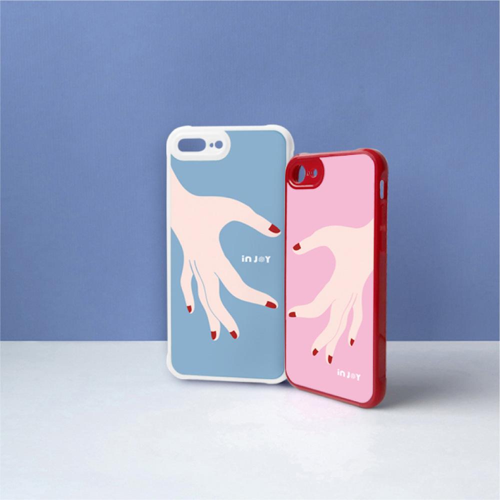 INJOY mall iPhone 7 / 8 / Plus / X 愛的分不開粉色 耐撞擊邊框手機殼