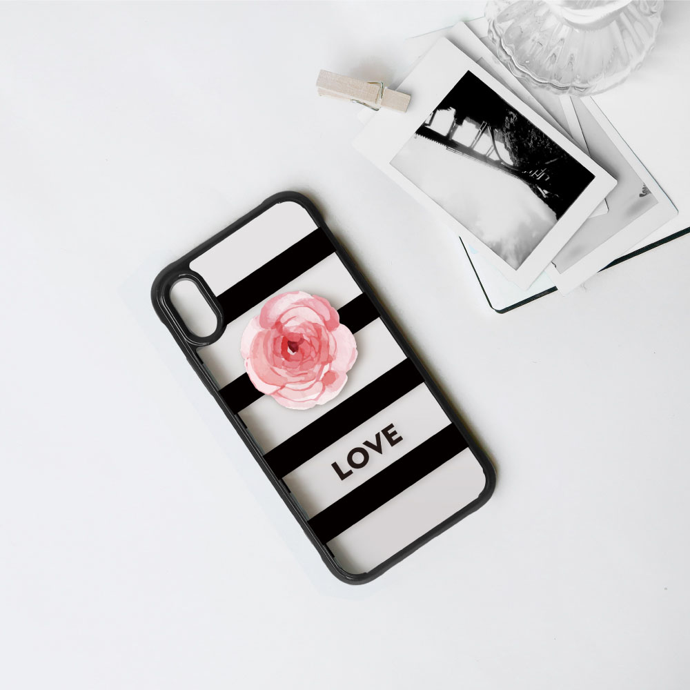 INJOY mall|iPhone 7 / 8 / Plus / X 幸福玫瑰小清新 耐撞擊邊框手機殼