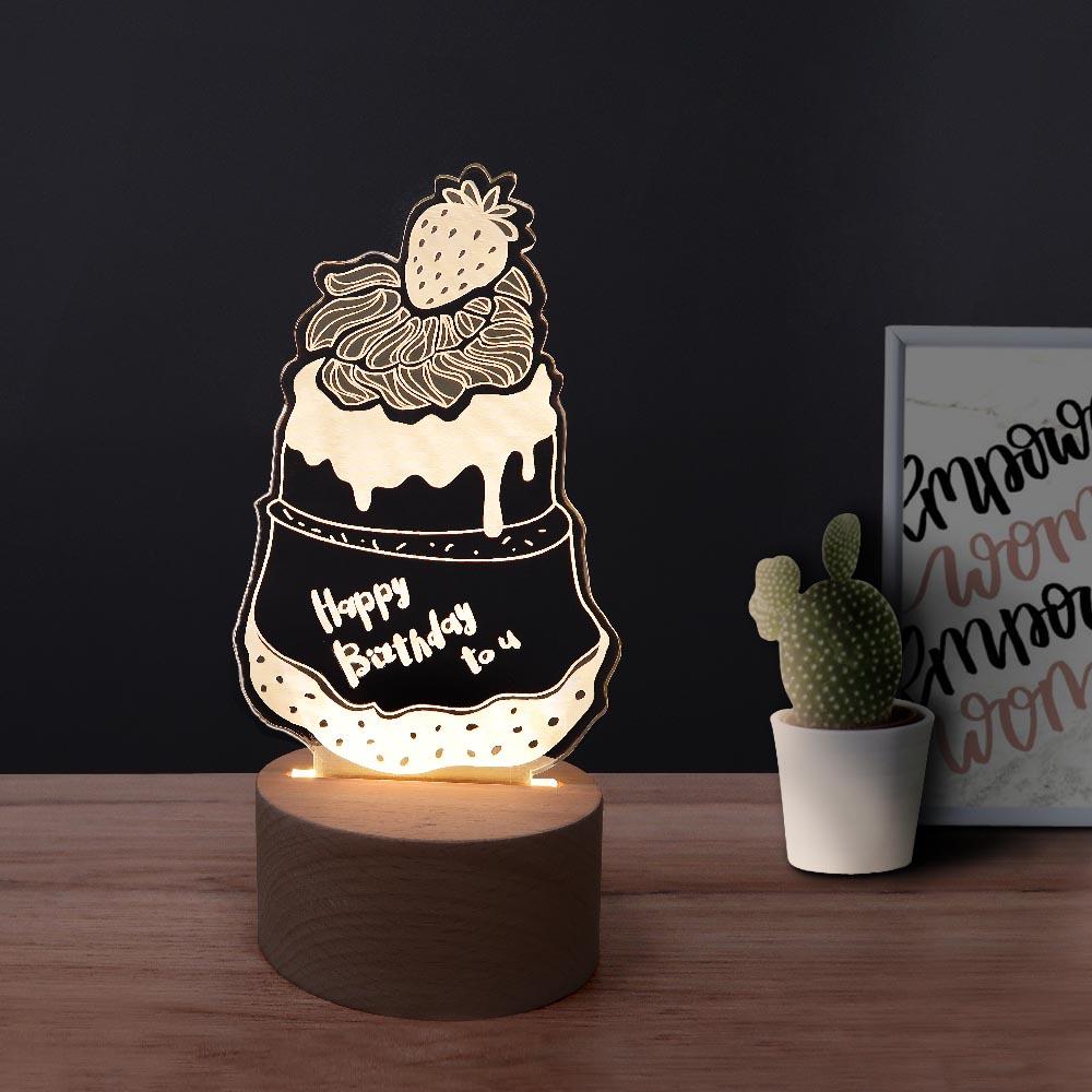 INJOY mall|3D小夜燈  Happy Brithday草莓蛋糕