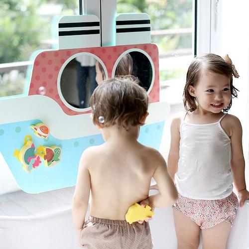 韓國NINO|兒童彩繪壁貼鏡-嘟嘟蒸汽船-藍色