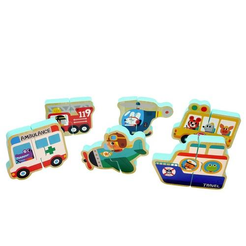 韓國NINO|立體拼圖洗澡玩具-交通大隊