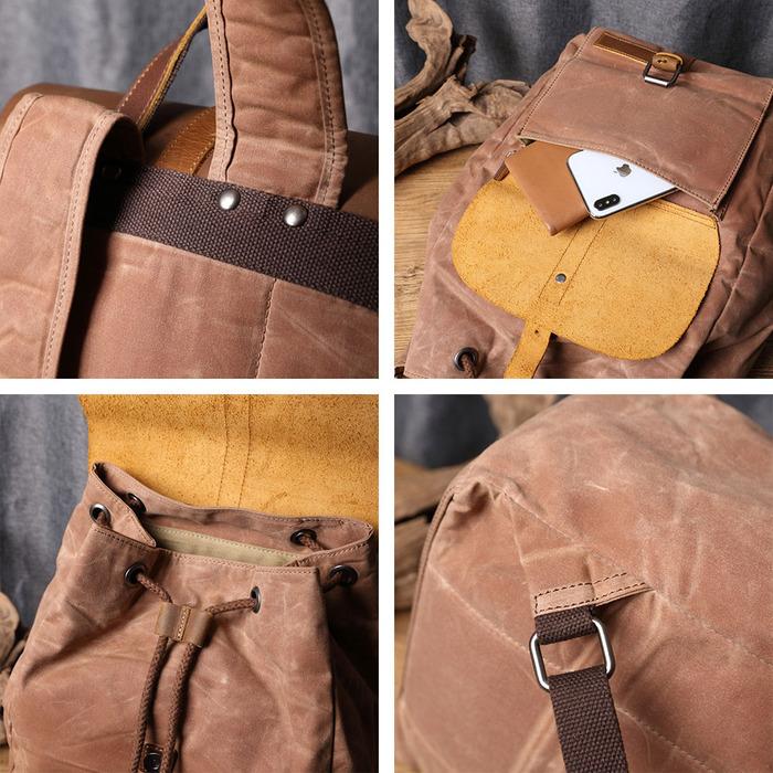 SoLoMon|牛皮革機能帆布掀蓋束口後背包(4色可選)