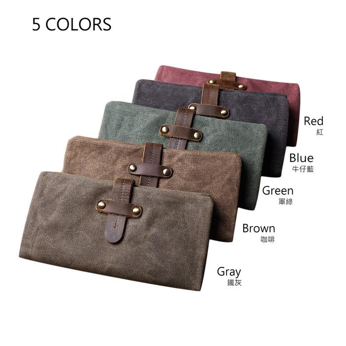 SoLoMon 牛皮革機能帆布抽帶功能長夾(5色可選)