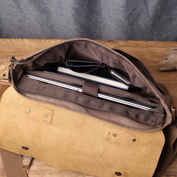 SoLoMon 皮革機能帆布休閒側背包 斜背包(4色可選)