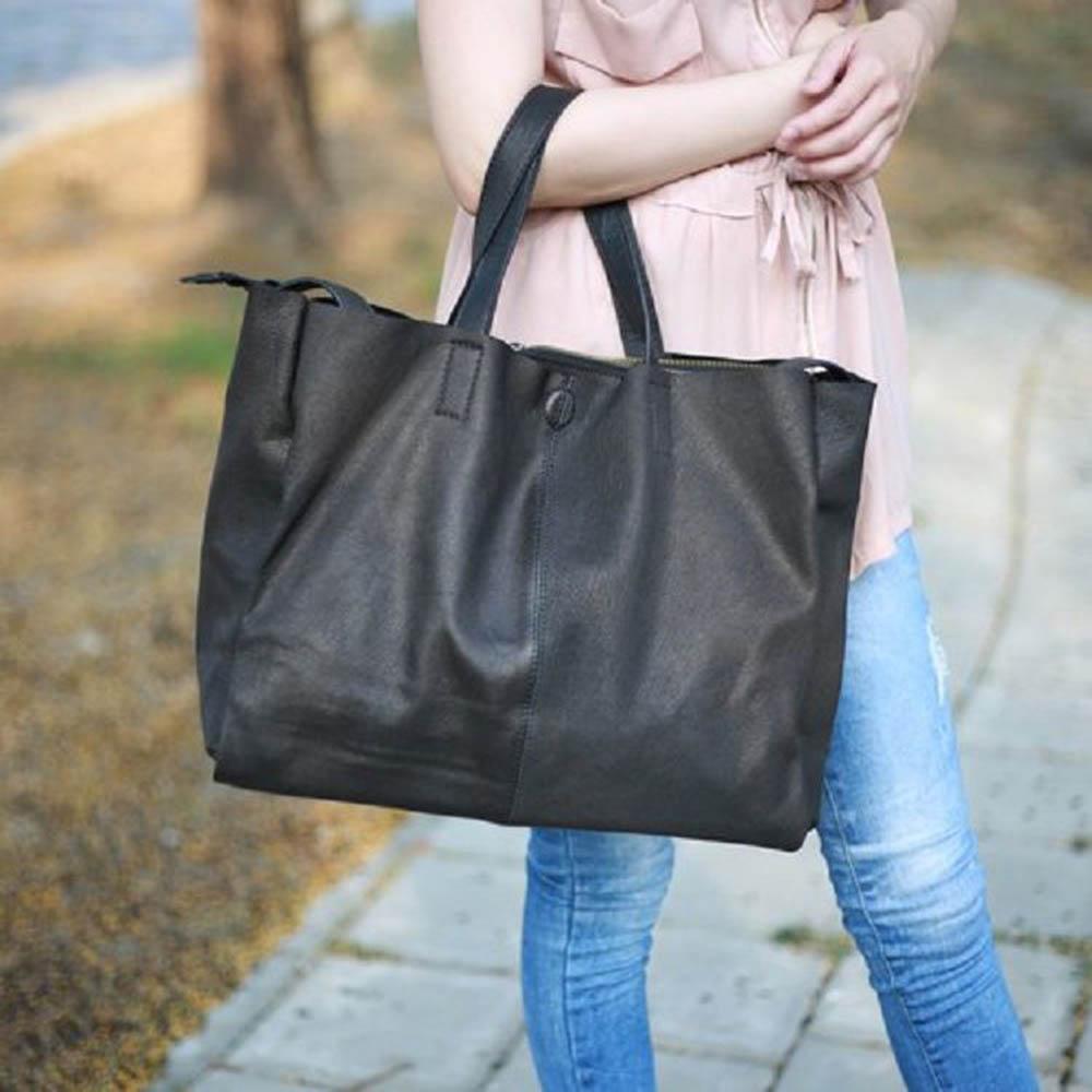 SoLoMon 經典羊皮肩背包 男女包中性款 (黑色)送皮件贈品