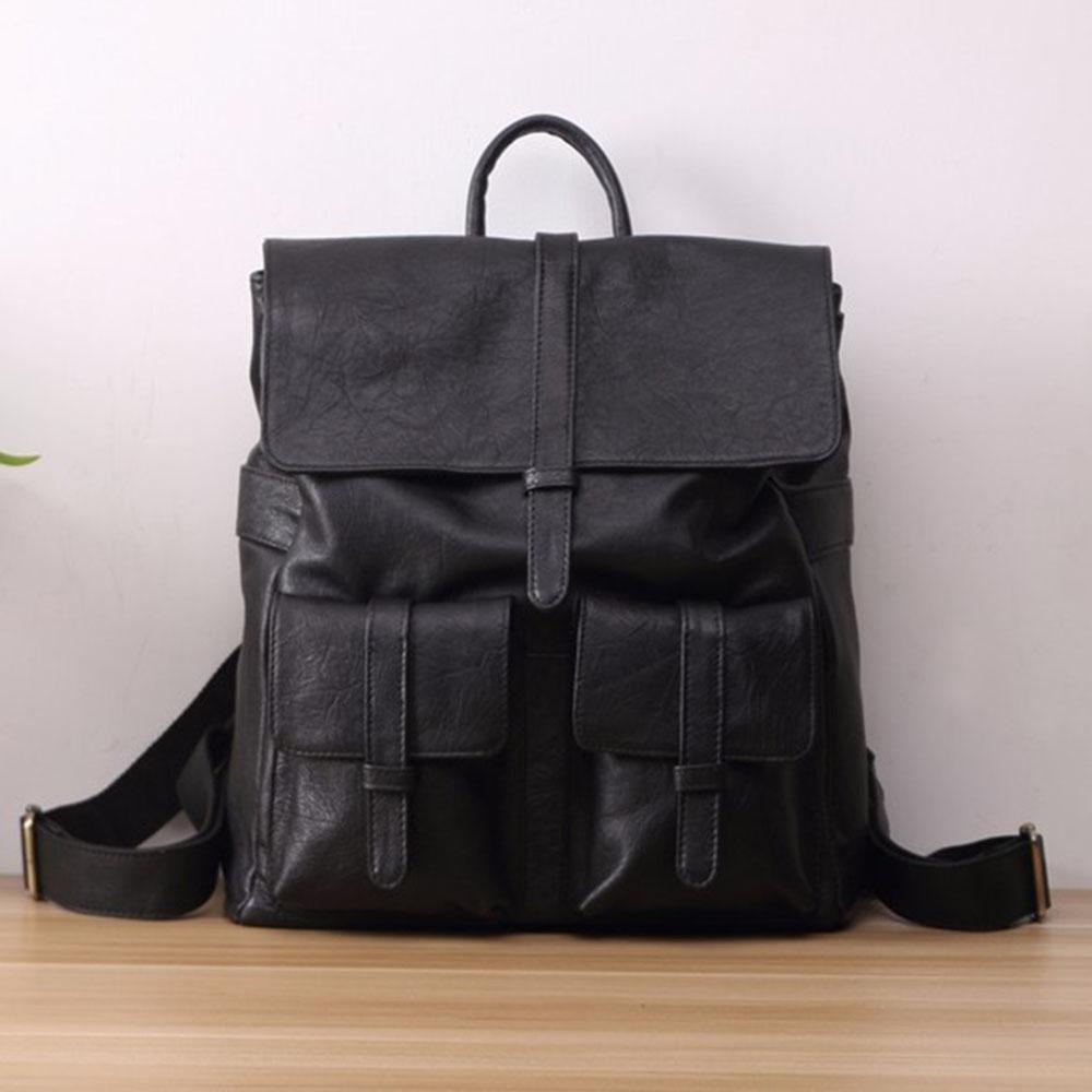 SoLoMon|靜靜手工皮革提把後背包 (黑)送皮件贈品