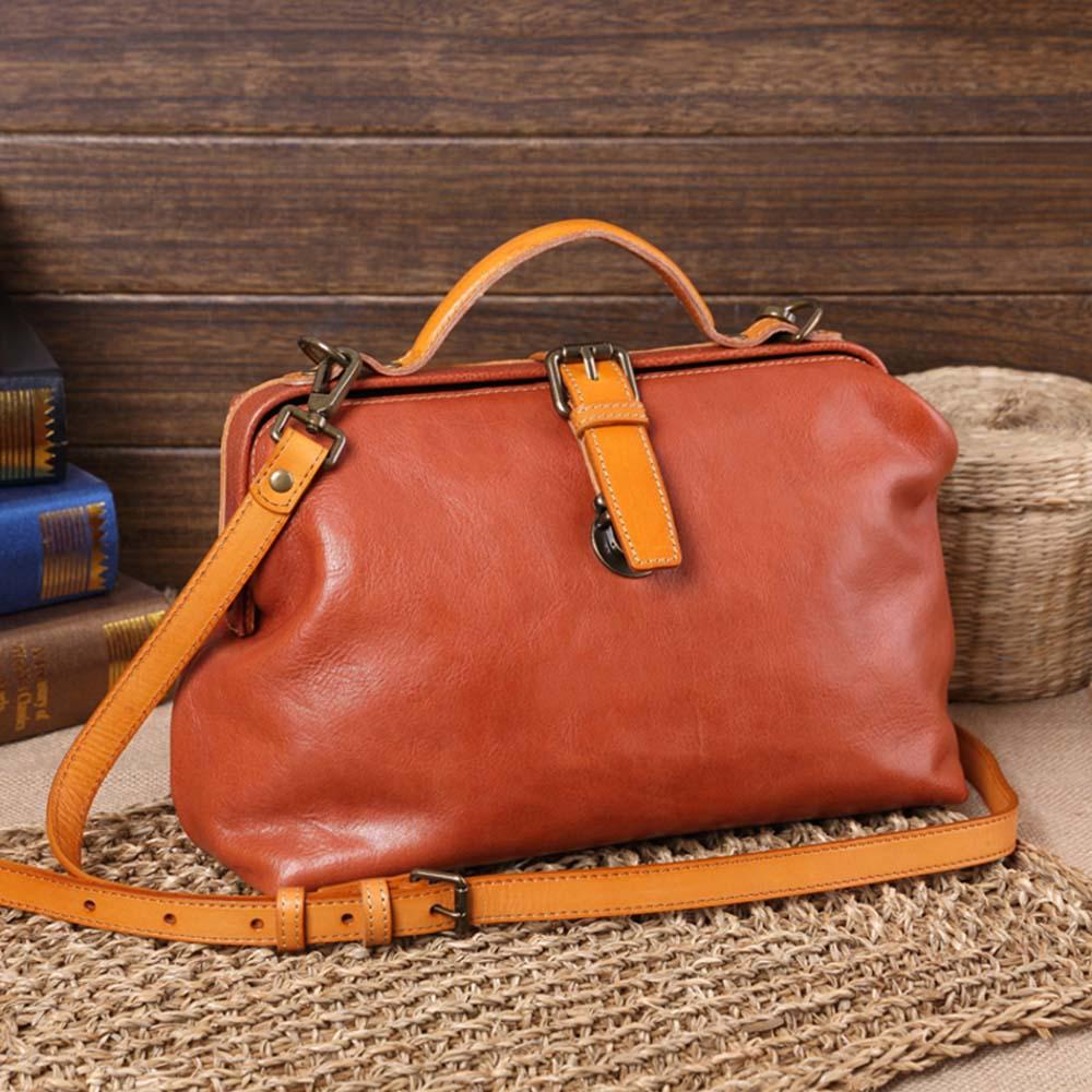 SoLoMon|南丁格爾 水洗植鞣皮革口金醫生包 (3色可選) 送皮件贈品