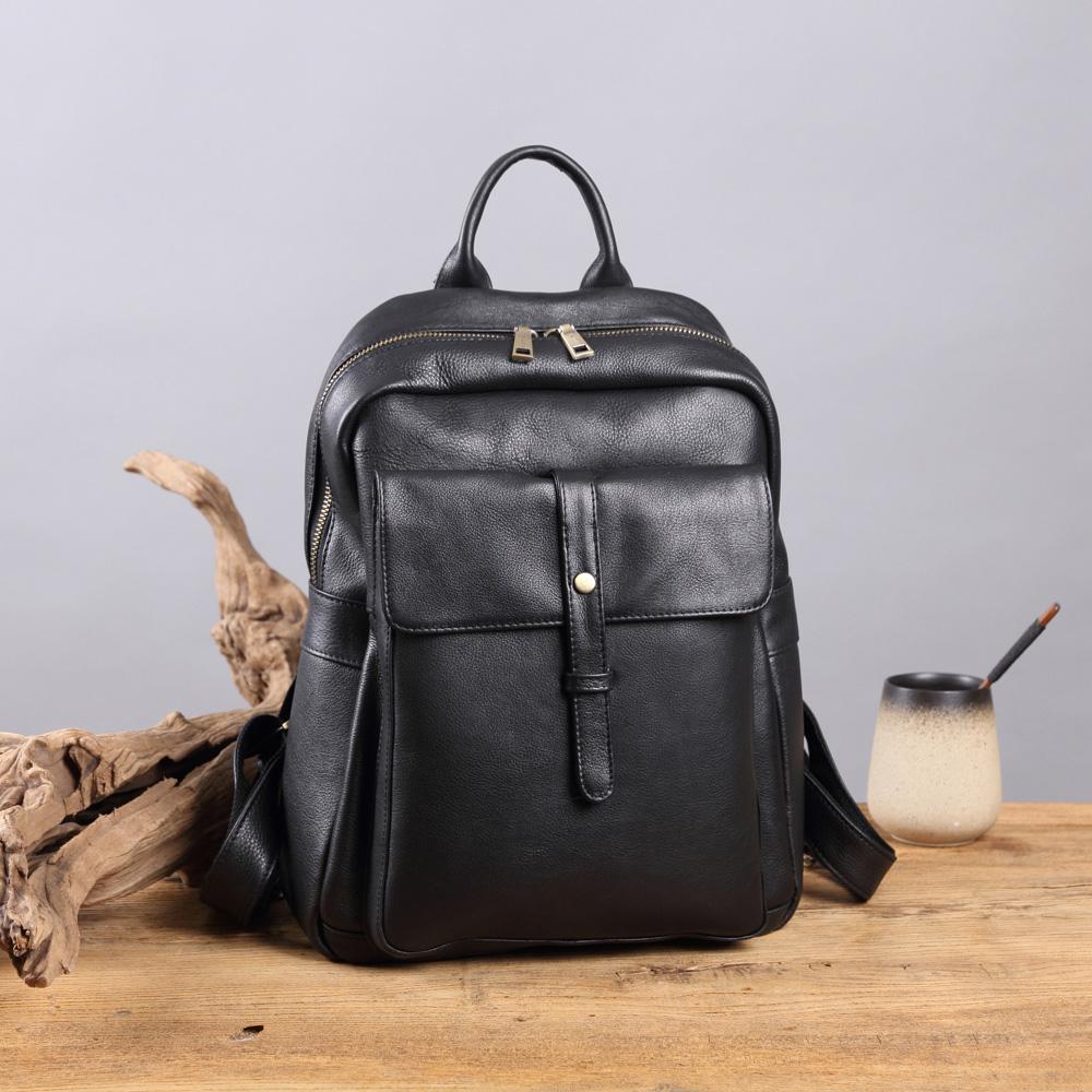 SoLoMon|書生 真皮多功能拉鍊後背包 (2色可選)送皮件贈品