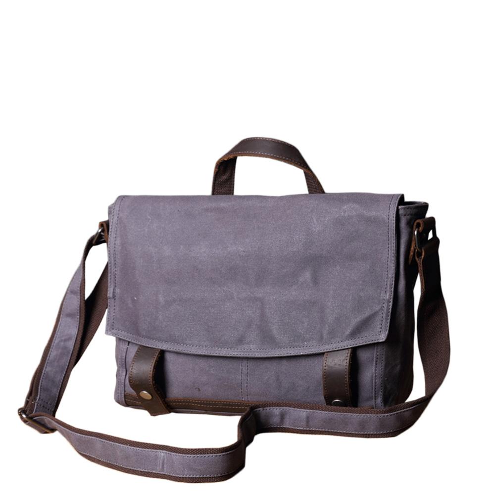 SoLoMon|牛皮革機能帆布側背包 手提把 單肩包(4色可選)