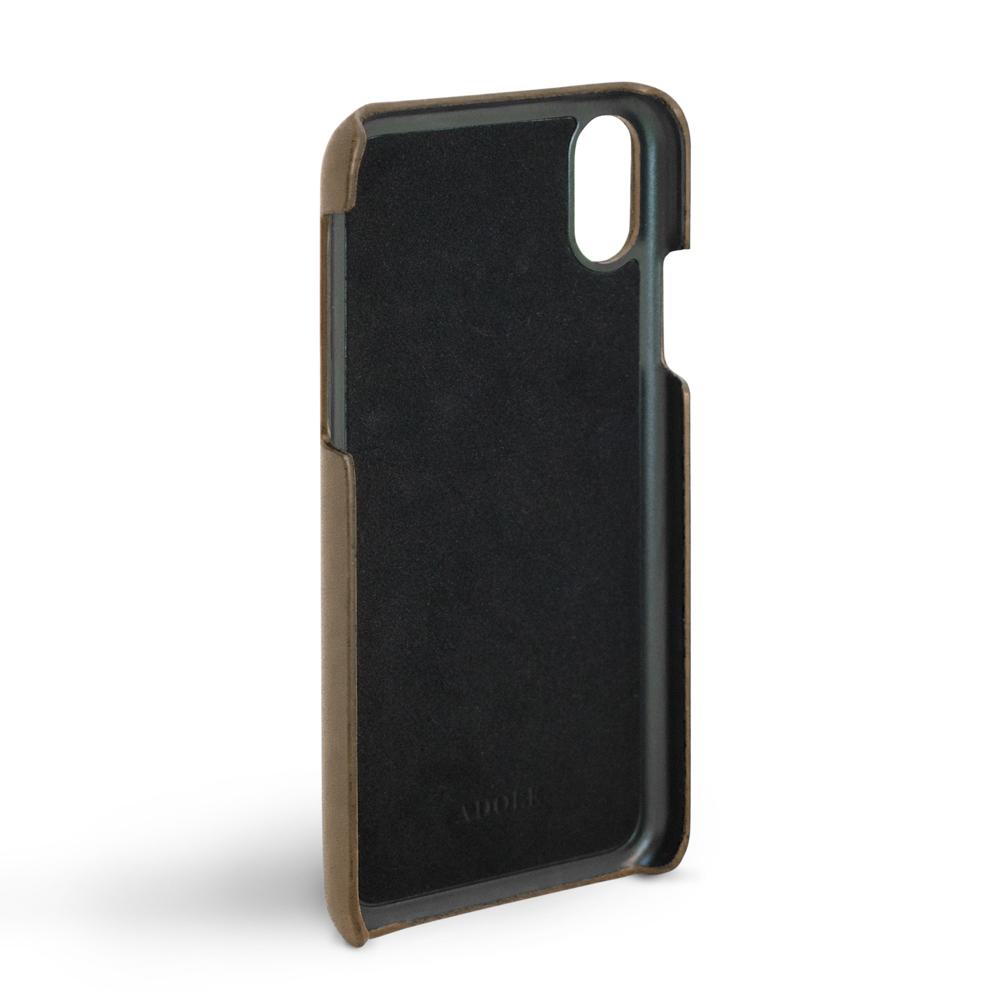 ADOLE|iPhone X 5.8 吋真皮防潑水手機殼卡夾款-摩卡