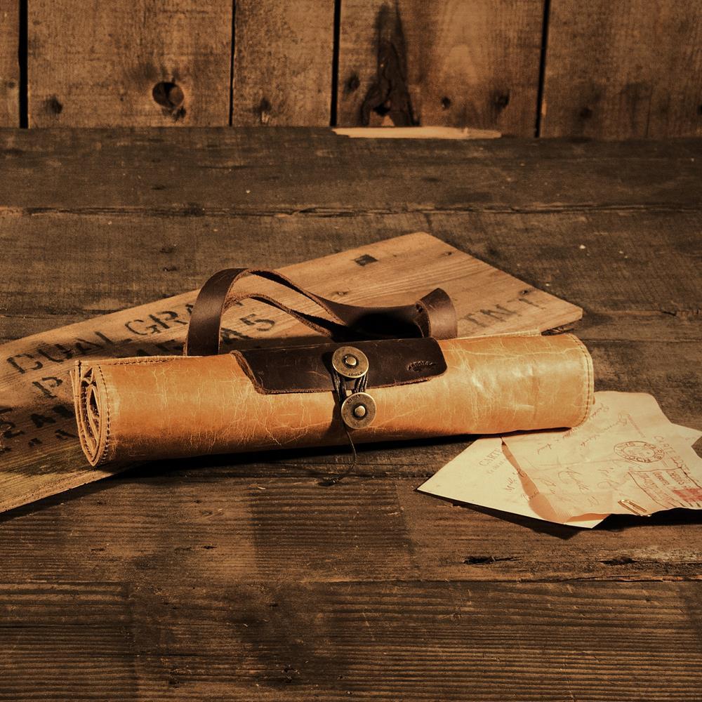 ADOLE|蠟紋布-復古捲式購物袋
