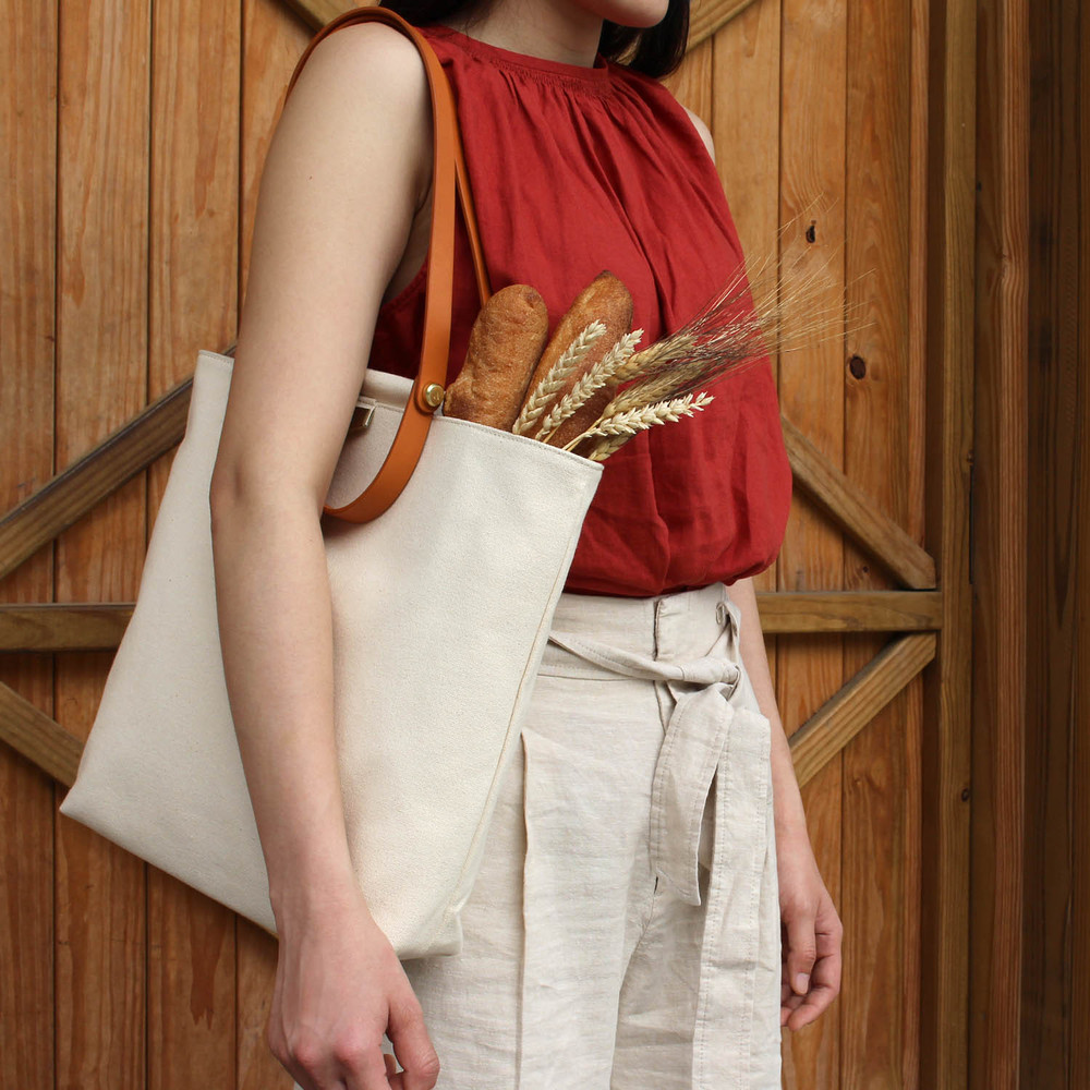 ADOLE|ADay皮革組合帆布包/米帆布+棕堤把