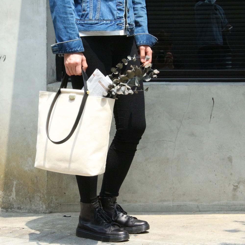ADOLE ADay皮革組合帆布包/米帆布+黑提把
