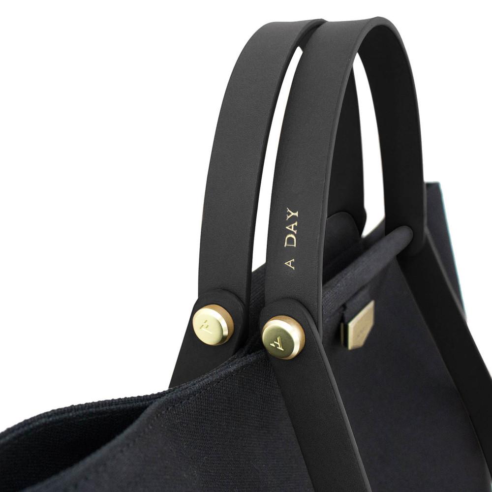 ADOLE|ADay皮革組合帆布包/黑帆布+黑提把