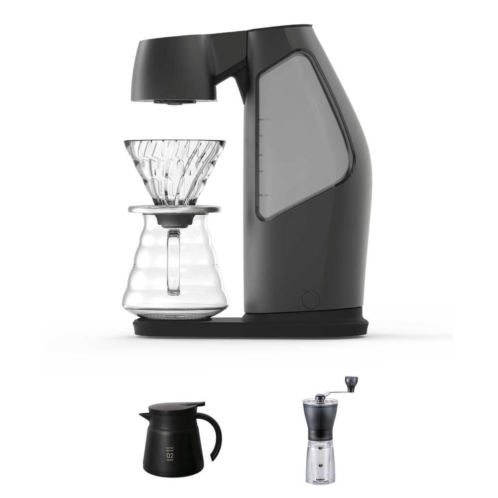 HIROIA SAMANTHA智慧型手沖咖啡機 + HARIO 手搖磨豆機 MSS-1TB + 真空保溫壺(黑)