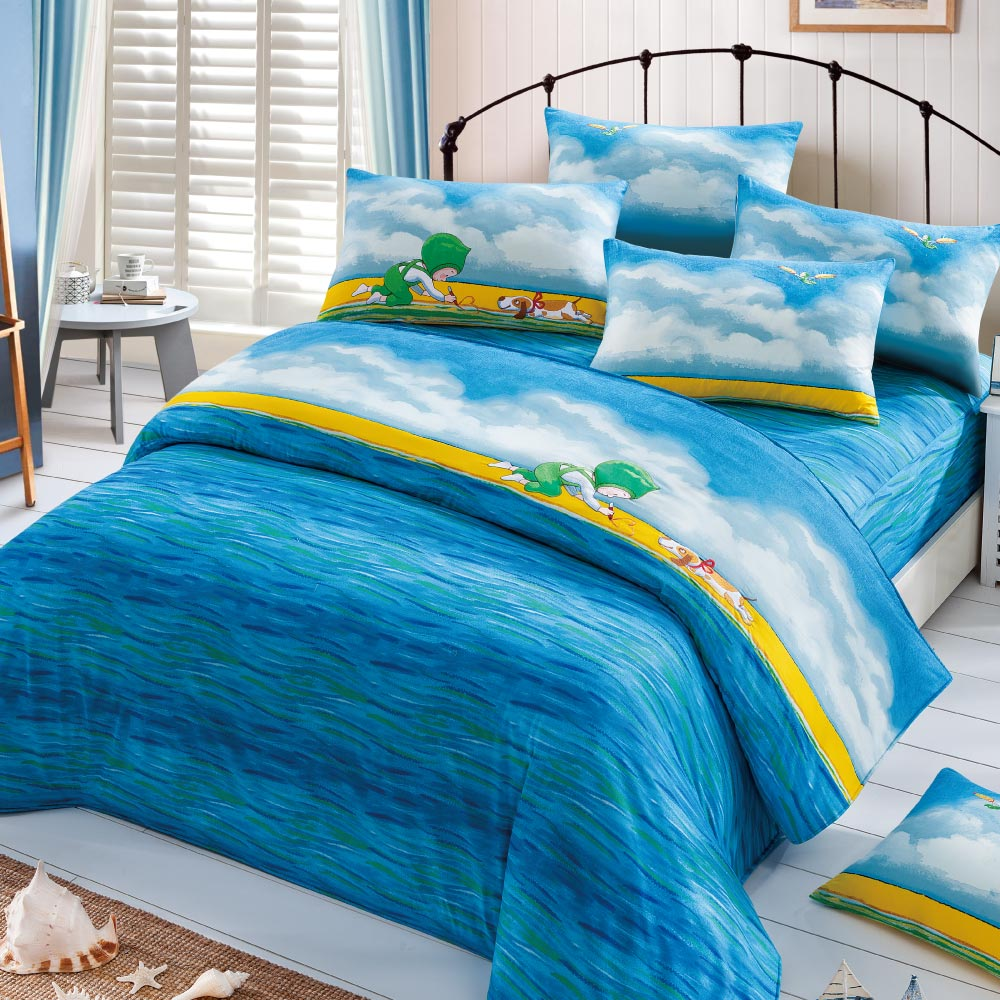 Kidult|忘記親一下 海洋男孩  兩用被床包組 - 單人