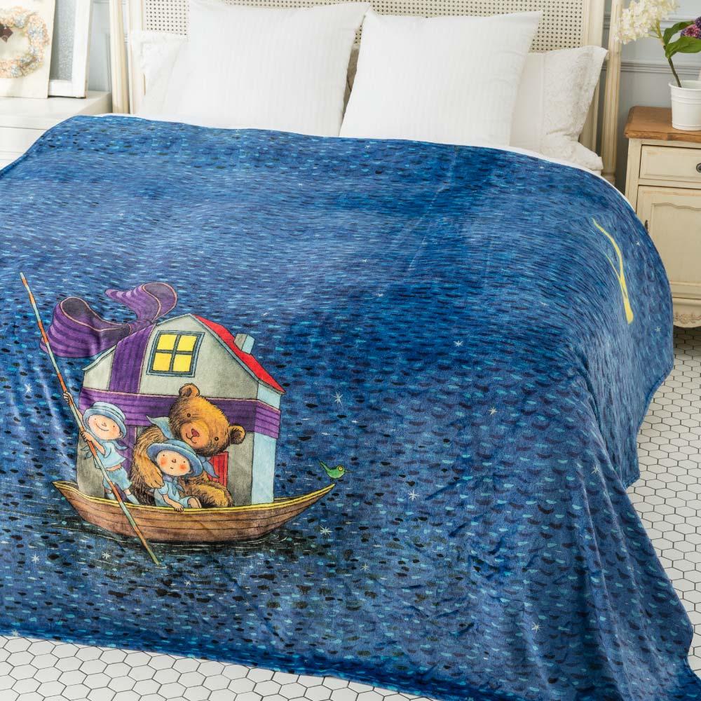 Kidult|小熊與船  數位印染  法蘭絨 四季毯