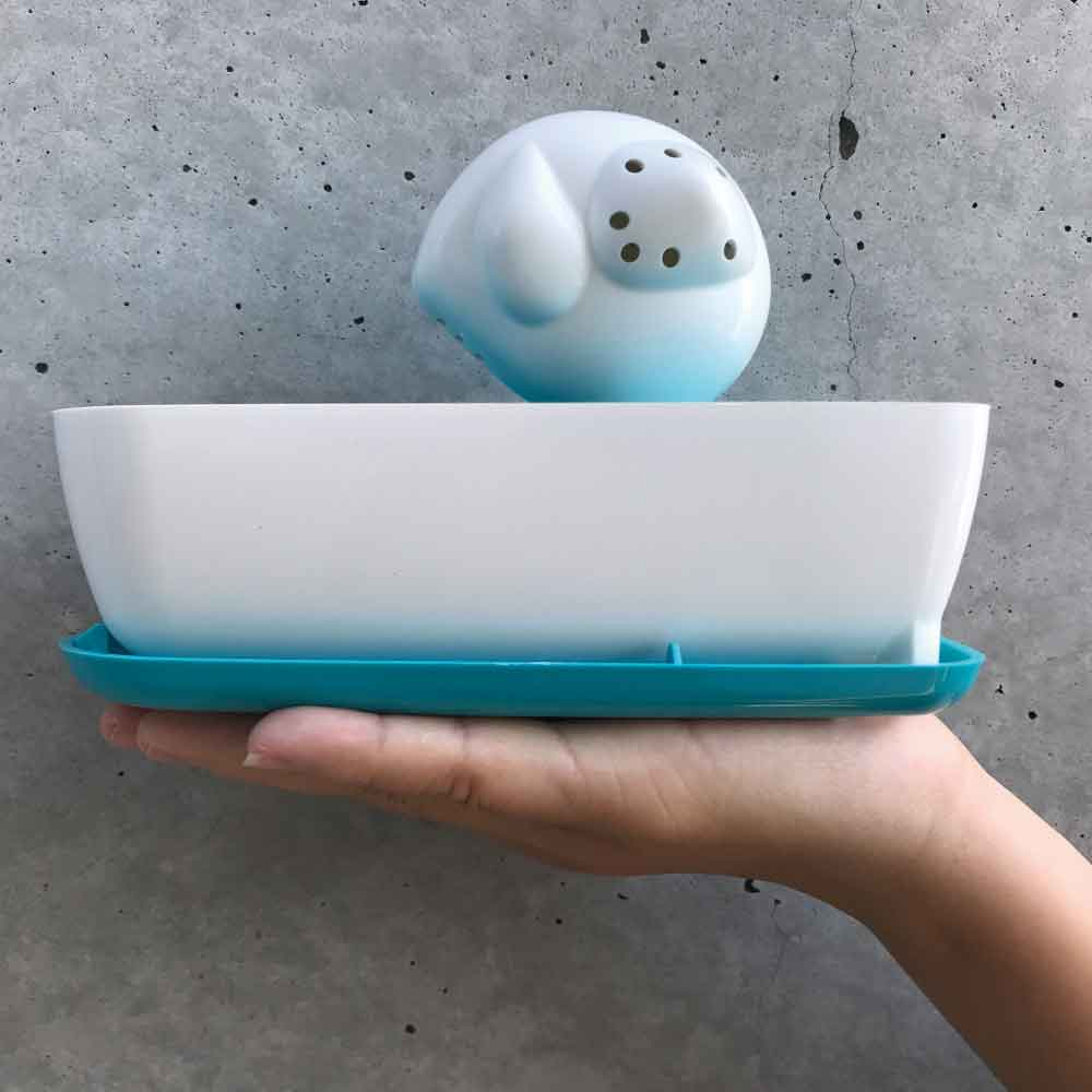 曼波魚SUN-FISH|三合一植栽收納盒Three-in-one planting box(湖水藍)