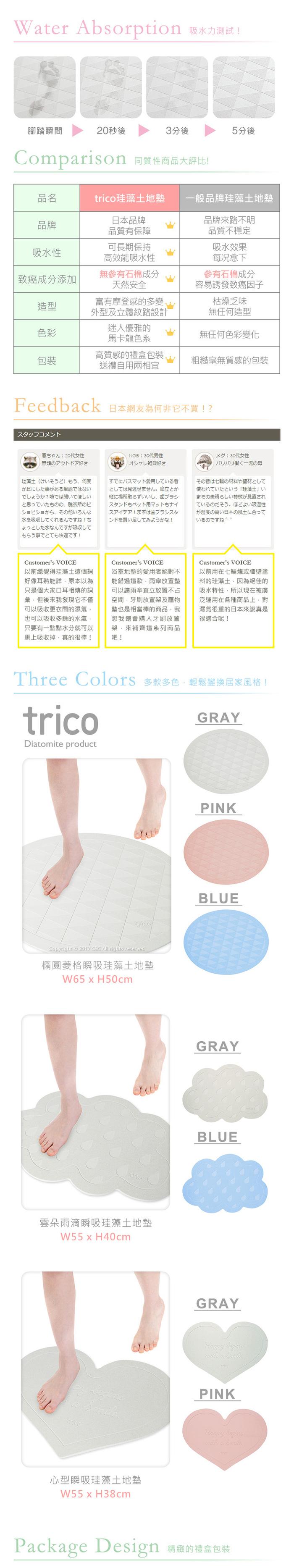 (複製)trico 心型瞬吸珪藻土地墊