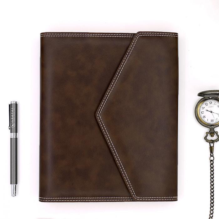 LEATAI 磊泰 復古信封包 25K活頁筆記本 + 介紙1.0內頁(鋼筆專用紙)) - 深咖啡色