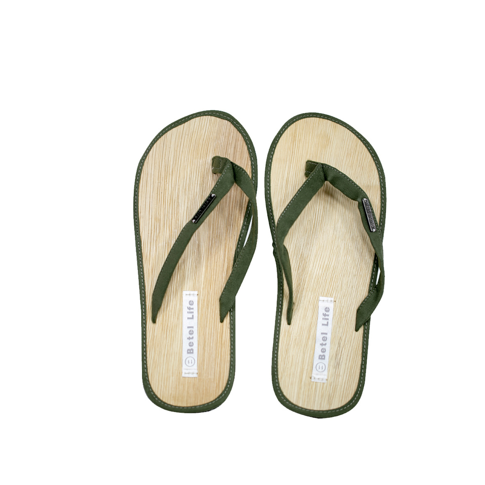 米麻岸工作室│極簡素色檳榔鞘拖鞋(綠)男女同版#5-#11