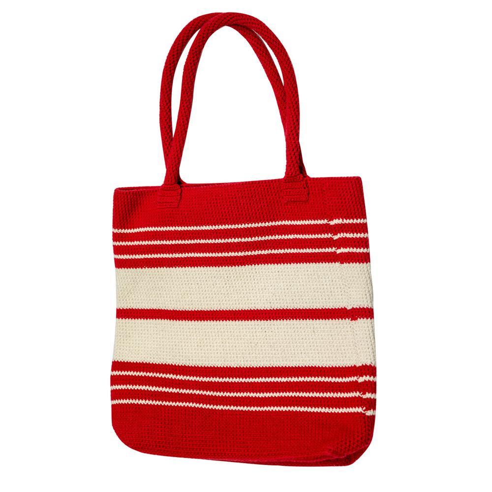 藍魚工坊│手編棉繩袋(紅)