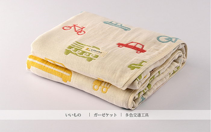 Yimono|六層紗呼吸被 - 英倫風交通工具 (薄款/ L)