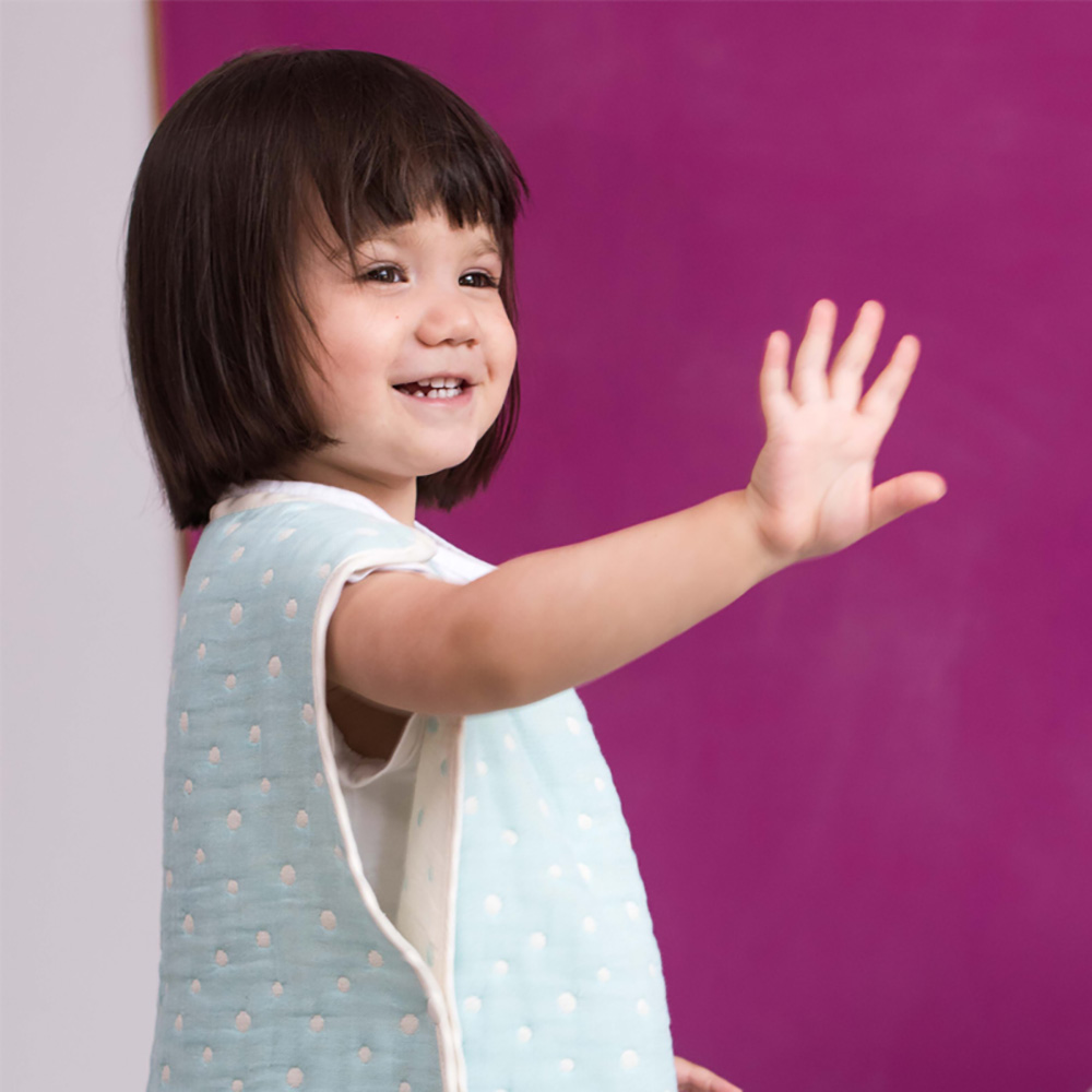 Yimono|六層紗防踢背心 - 藍色水玉 (薄款/ 特大)