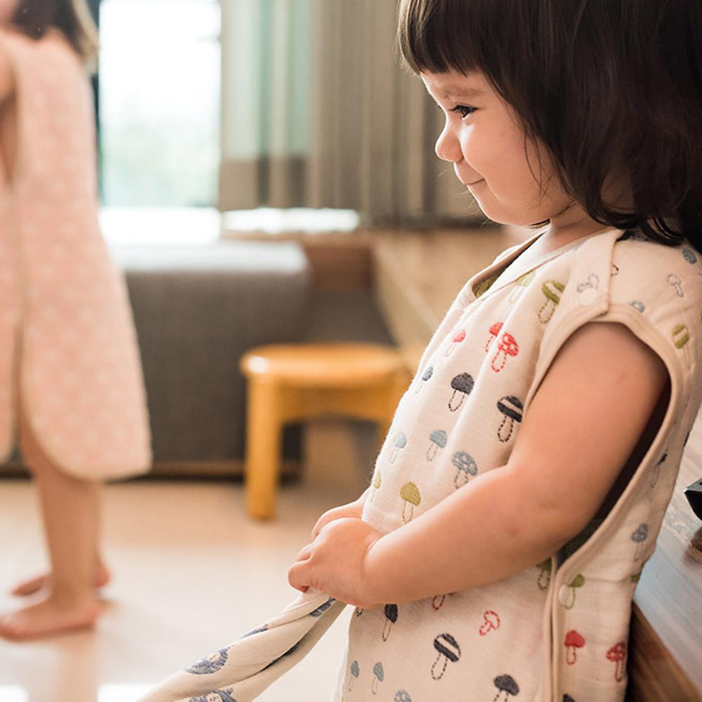 Yimono|六層紗防踢背心 - 彩色蘑菇 (薄款/ 特大)