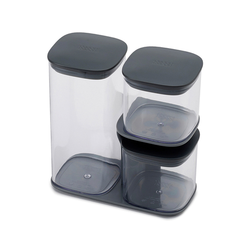 Joseph Joseph 英國創意餐廚 疊疊樂收納罐(三件組-附座灰)